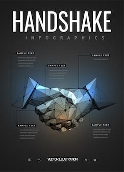 Infografiki uścisk dłoni w stylu wielokątne modelu szkieletowego
