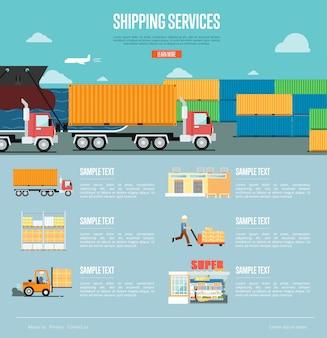Infografiki usług wysyłkowych w stylu płaski