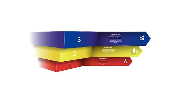 Infografiki w postaci kolorowych strzałek z cieniami
