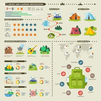 Infografiki wektor kemping i piesze wycieczki. infografika podróży na świeżym powietrzu, infografika górskich przygód, sprzęt do biwakowania i ilustracji pieszych wędrówek