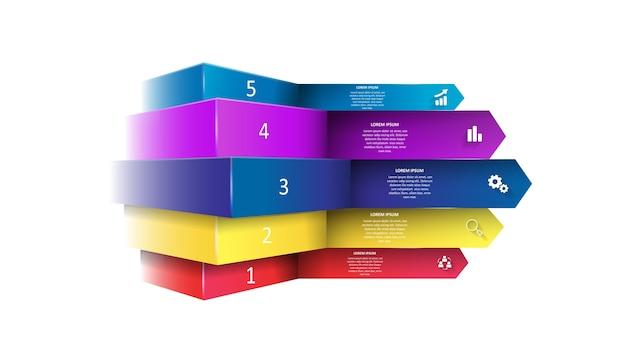 Infografiki wektorowe w postaci kolorowych strzałek z cieniami.