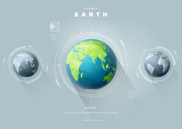 Infografiki wielokątne ziemi i półkul wschodnich