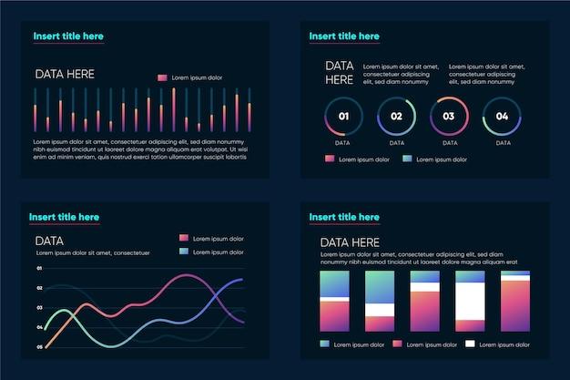 Infografiki wizualizacji danych ochronnych z gradientem