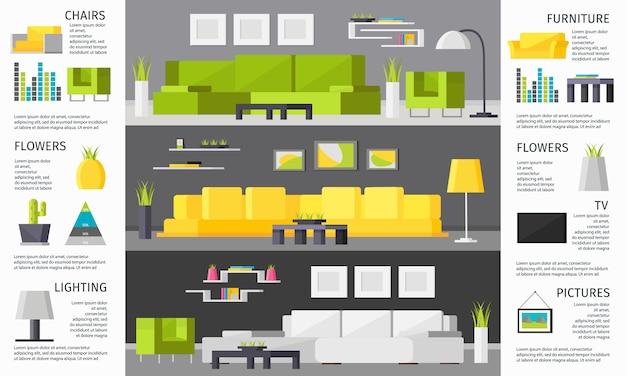 Infografiki wnętrza pokoju