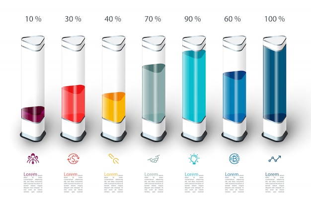 Infografiki wykres słupkowy z kolorowy kawałek 3d.