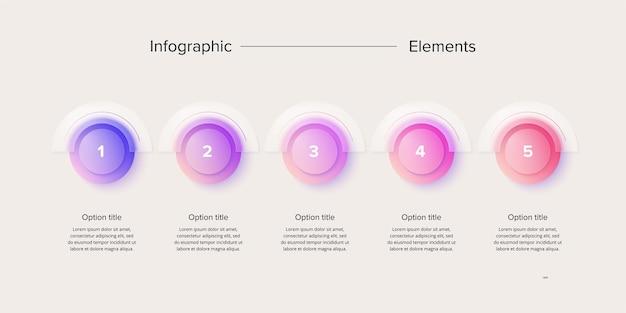 Infografiki wykresów procesów biznesowych z 4 krokowymi kołami okrągłe elementy przepływu pracy korporacyjnej