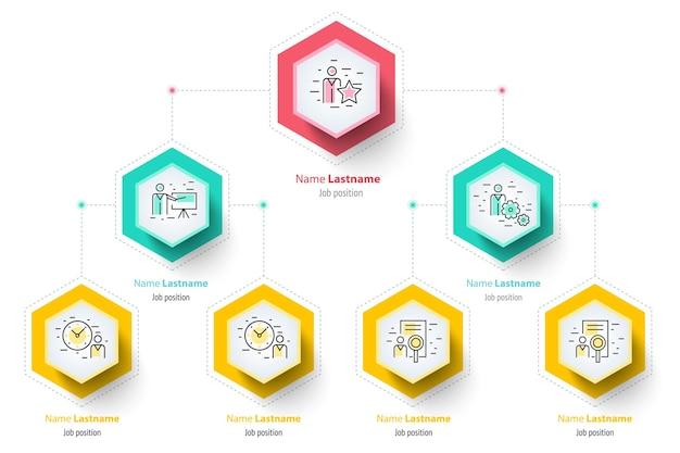 Infografiki wykresu hierarchii biznesowej element graficzny struktury organizacyjnej firmy