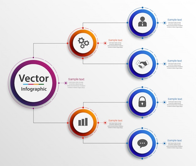 Infografiki wykresu organogram hierarchii biznesowej