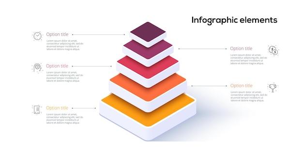 Infografiki wykresu piramidy biznesowej z 5 krokami. piramidalne etapy elementów grafu. szablon prezentacji poziomów hierarchii firmy. projekt graficzny informacji wektorowej.