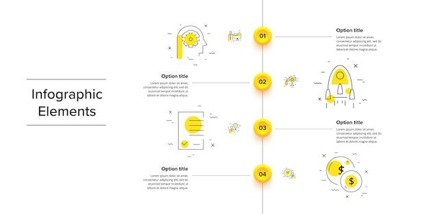 Infografiki wykresu procesów biznesowych z 4 okręgami krokowymi. elementy graficzne cyrkularnego przepływu pracy w firmie. szablon slajdu prezentacji schematu blokowego firmy.