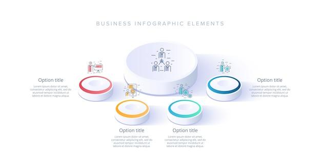 Infografiki wykresu procesów biznesowych z 4 segmentami krokowymi. elementy infografika izometryczny 3d korporacyjnej osi czasu.