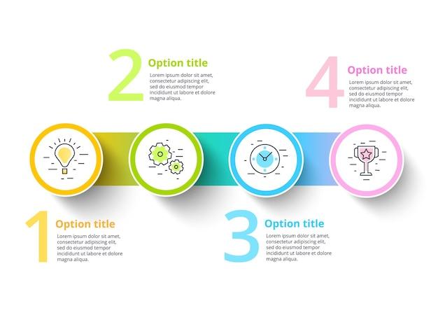 Infografiki wykresu procesów biznesowych z 4 segmentami krokowymi.
