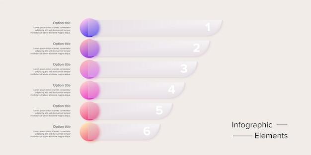 Infografiki wykresu procesów biznesowych z 6 kręgami kroków. okrągłe elementy graficzne przepływu pracy korporacyjnej. slajd prezentacji schematu blokowego firmy. grafika wektorowa informacji w projektowaniu glassmorphism.