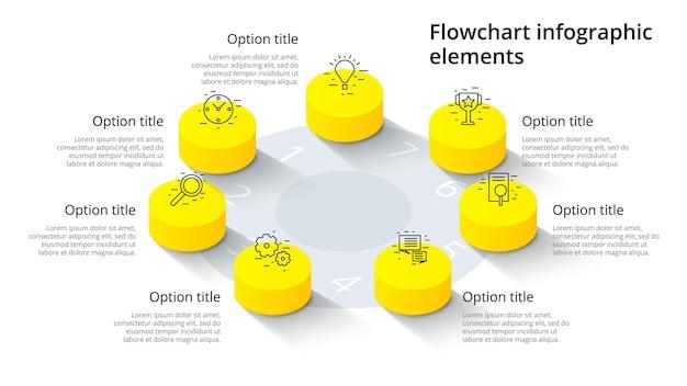 Infografiki wykresu procesów biznesowych z 7 segmentami krokowymi. elementy infografika izometryczny 3d korporacyjnej osi czasu.