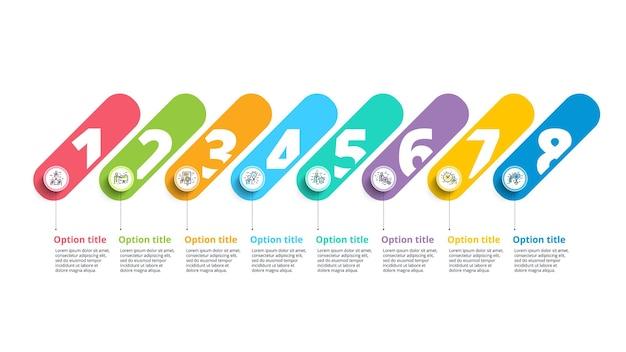 Infografiki wykresu procesów biznesowych z 8-krokowymi okręgami okrągły element graficzny przepływu pracy korporacyjnej
