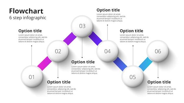 Infografiki wykresu procesów biznesowych z segmentami 6 kroków okrągły element infografiki na osi czasu firmy