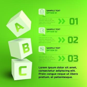 Infografiki z 3d kostkami i literami