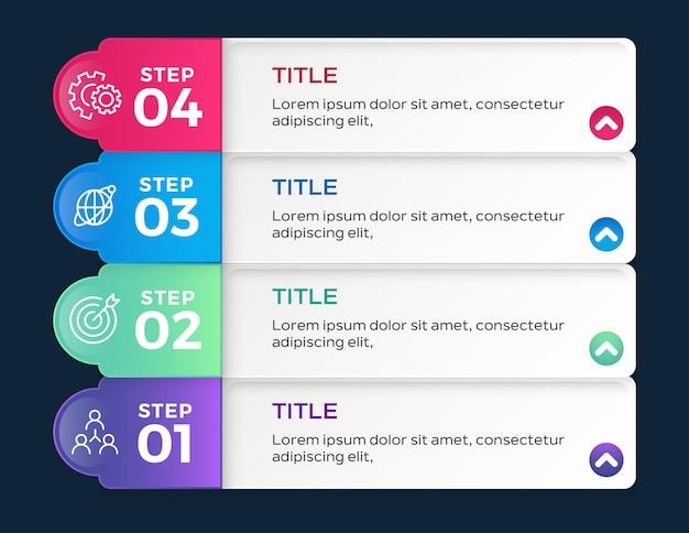 Infografiki z czterema krokami opcji
