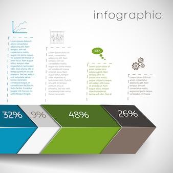 Infografiki z geometrycznymi kształtami i danymi na wykresach procentowych i ustawieniami na białym tle