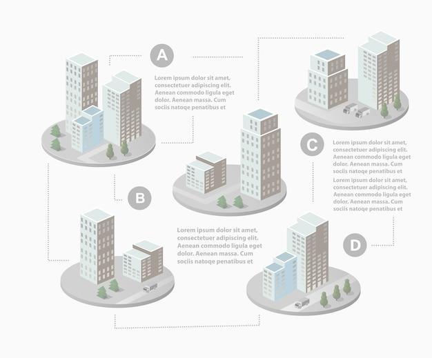 Infografiki z izometrycznymi domami i krajobrazem miejskim