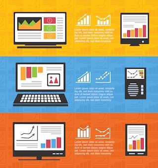 Infografiki z komputerami i biznesem informatycznym