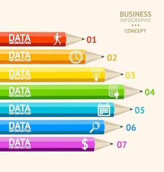 Infografiki z ołówkami dla finansów biznesowych płaska konstrukcja