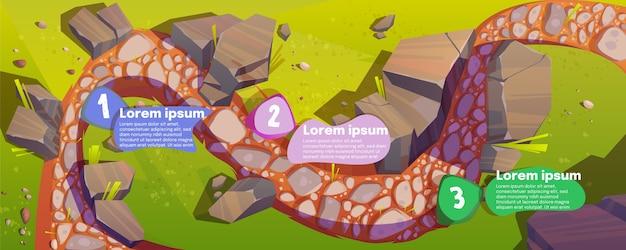 Infografiki z widokiem z góry drogi i osi czasu kroków