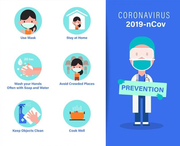Infografiki zapobiegania wirusom 2019-ncov covid-19. wskazówki dotyczące ochrony przed koronawirusem. ilustracja kreskówka w stylu płaska konstrukcja.