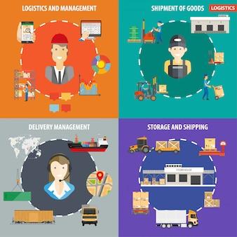 Infografiki zarządzania logistyką lub wysyłką