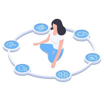 Infografiki zdrowia kobiet dziewczyna siedząca w pozycji lotosukoło z ikonami zdrowego stylu życia