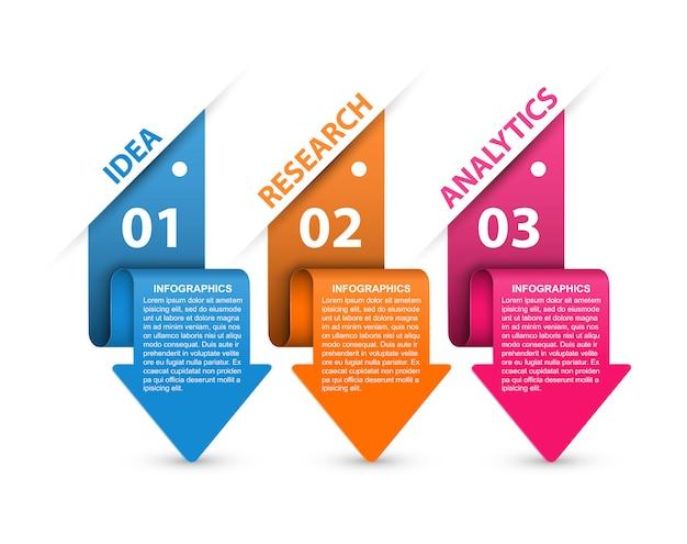 Infografiki ze strzałkami. infografiki prezentacji biznesowych lub baner informacyjny.