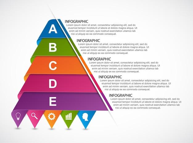 Infografiki ze wstążek w kształcie piramidy.