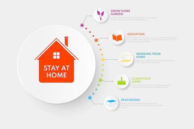Infografiki zostań w domu. ilustracja