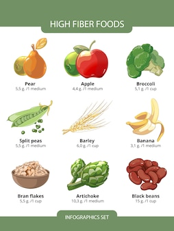 Infografiki żywności o wysokiej zawartości błonnika. płatki jęczmienia i otrębów, czarna fasola, groszek, gruszka i karczoch, ilustracji wektorowych