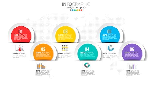 Infograph element 6 kroków z numerem i diagramem wykresu, projekt wykresu biznesowego.