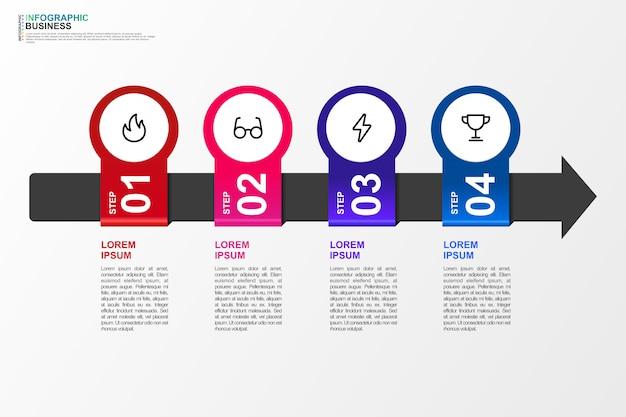 Infographic dla biznesowego szablonu 4 opci