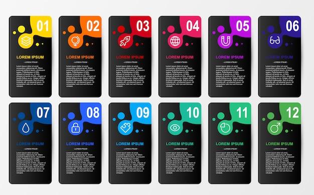 Infographic dla biznesu 12 kolorów opci szablonu