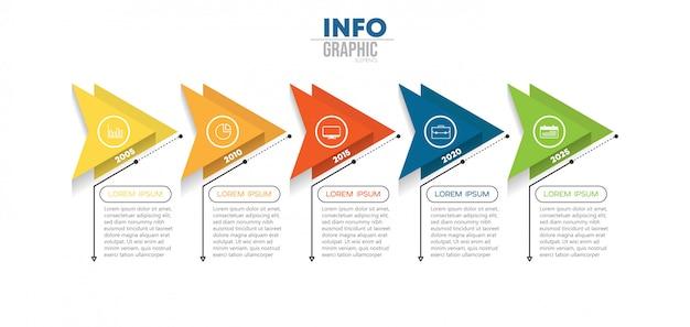 Infographic element z ikonami i 5 opcjami lub krokami. może być używany do procesu, prezentacji, schematu, układu przepływu pracy, wykresu informacyjnego