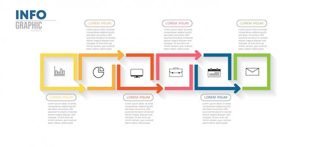 Infographic element z ikonami i 6 opcjami lub krokami. może być używany do procesu, prezentacji, schematu, układu przepływu pracy, wykresu informacyjnego