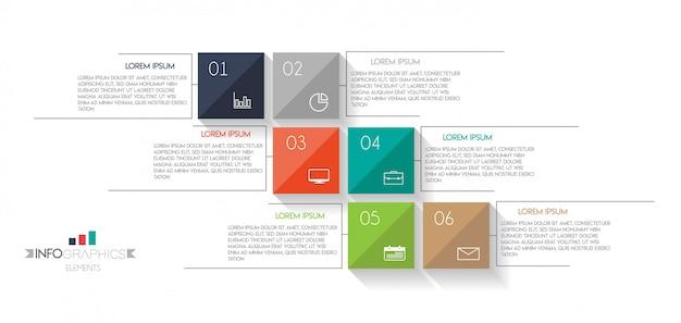 Infographic element z ikonami i 6 opcjami lub krokami.
