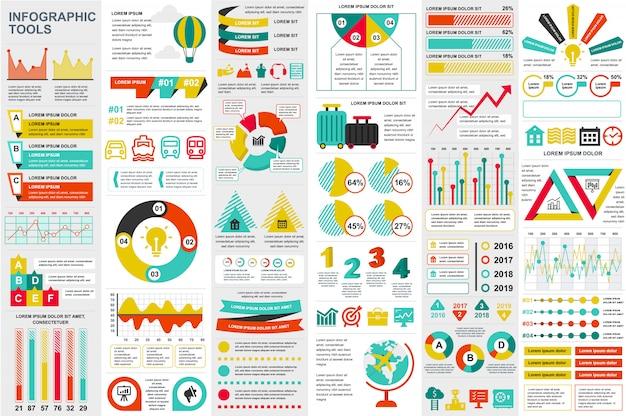 Infographic elementów danych wizualizacji wektor szablon projektu