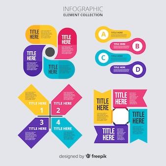 Infographic elementów kolekcja płaska