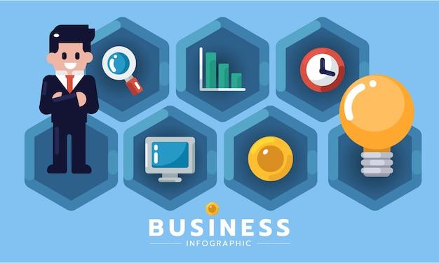 Infographic elementu płaskiego projekta biznesowego pomysłu nowy projekt lub zaczyna pojęcie. pomysł firmy od biznesmena. biznesowa infographic wektorowa ilustracja