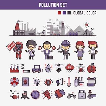 Infographic elementy dla dzieci o zanieczyszczeniu