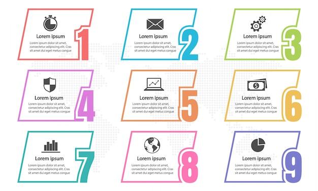 Infographic elementy i liczby 9 opcji.