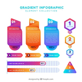 Infographic elementy kolekcja z gradientowymi kolorami