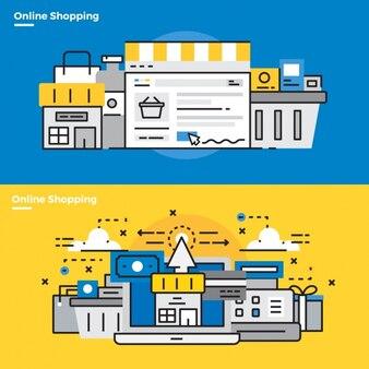 Infographic elementy o zakupy online