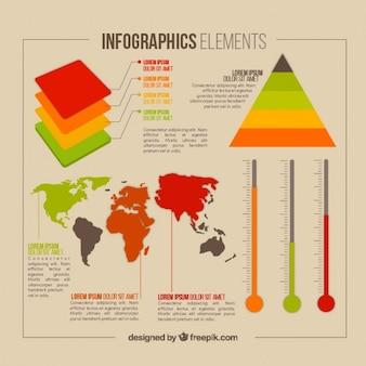 Infographic elementy z mapą