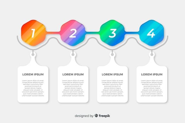 Infographic kroki kolekcja płaska
