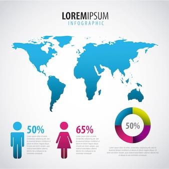 Infographic ludzie świat mapa procent i szablon wykresu
